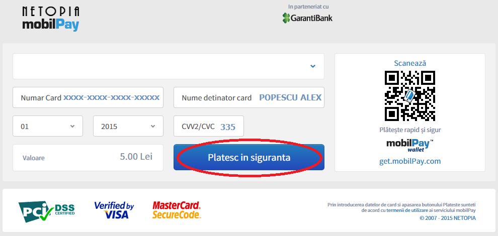 Plata online cu card de credit