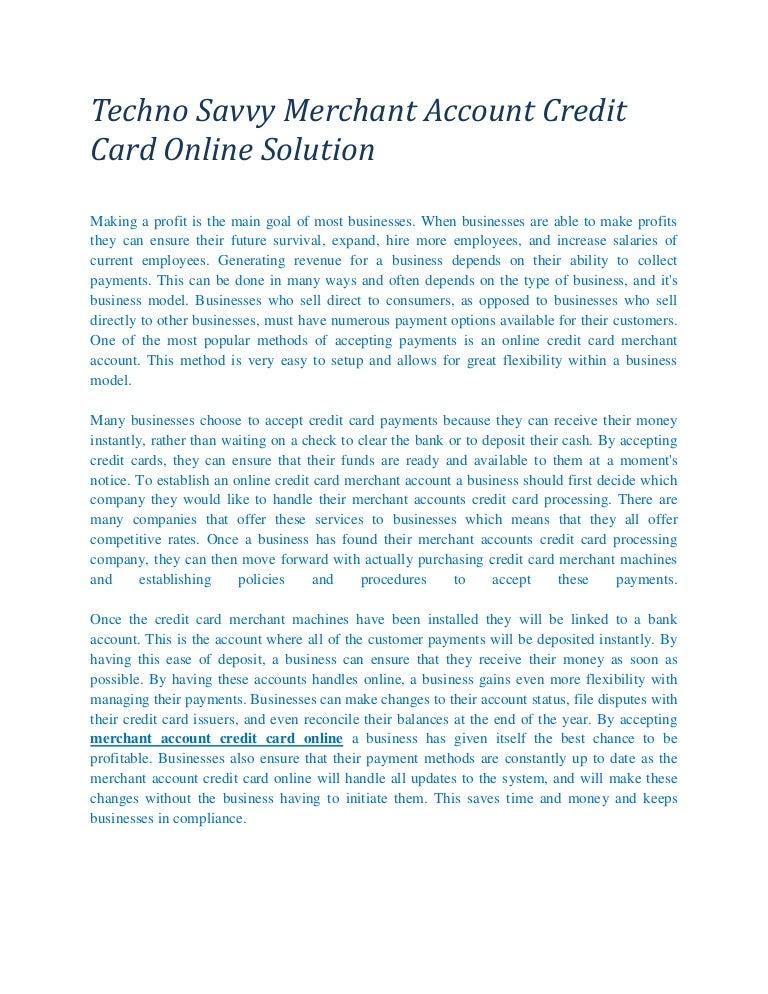 Online credit card merchant account