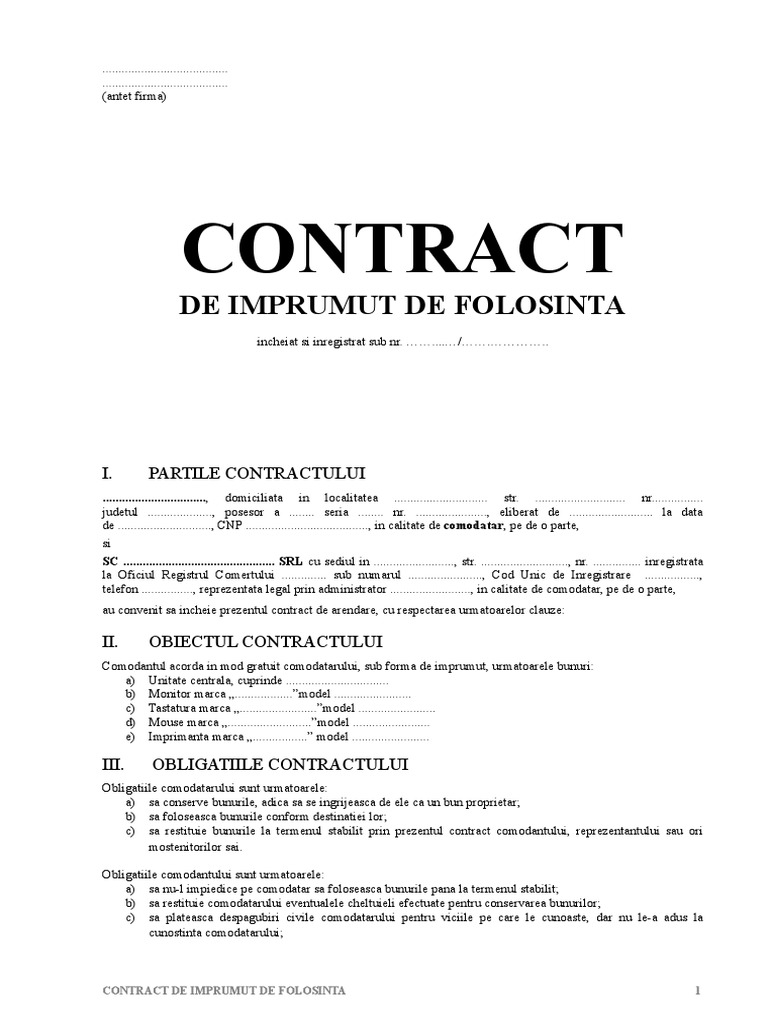 Contract de împrumut de folosinţă