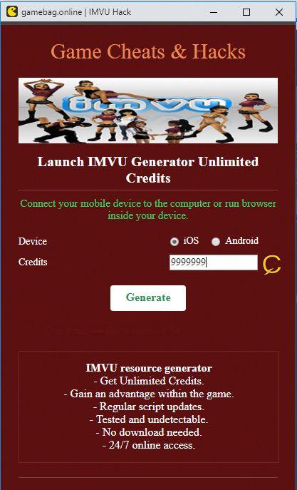 Imvu credits hack online no human verification