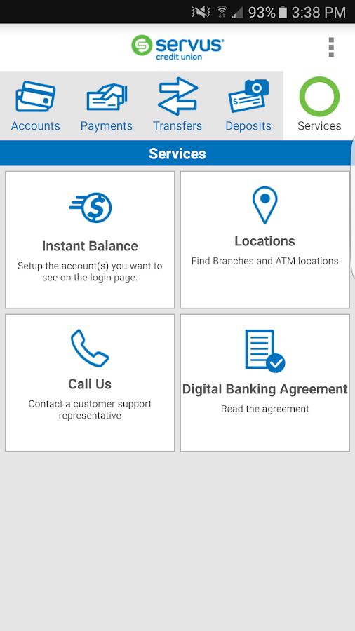 Servus credit online banking